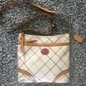 Coach white colorful striped crossbody bag